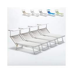 4 Sonnenliegen Luxus Italienischen Strandliegen mit Dach Italia | Weiß