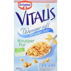 Dr. Oetker Vitalis Knuspermüsli weniger süß und weniger Zucker 600g 5er Pack