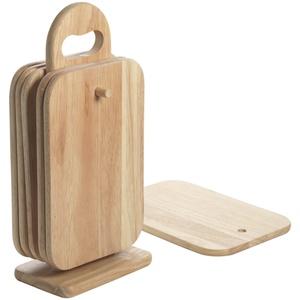 Mäser, Brettchenständer-Set 7-teilig, helles Brettchen-Set mit Holzgriff