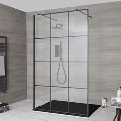 Walk-In Dusche mit Gittermuster, freistehend - inkl. Duschwanne mit Schiefer-Effekt (Finish wählbar) - Barq