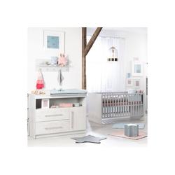 roba® Babymöbel-Set Maren 2, (Spar-Set, 2-St), mit Kinderbett und Wickelkommode grau