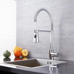 Spiralfeder-Küchenarmatur mit ausziehbarer Spülbrause - Chrom – Como, von Hudson Reed