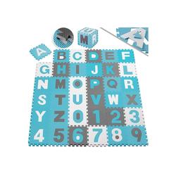 KESSER Puzzlematte, 86 Puzzleteile, Kinderspielteppich aus Puzzleteilen 86-teilig Spielmatte Schaumstoffmatte Kinderteppich Puzzle Zahlen und Buchstaben, Maß je Matte ca. 31,5 x 31,5 cm Schutzmatte blau