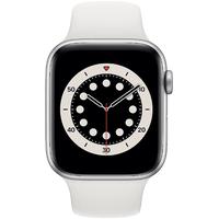Apple Watch Series 6 GPS + Cellular 44 mm Aluminiumgehäuse silber, Sportarmband weiß