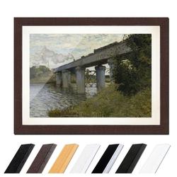 Bilderdepot24 Wandbild, Claude Monet - Die Eisenbahnbrücke von Argenteuil bunt 80 cm x 60 cm