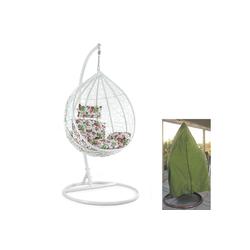 RAMROXX Hängesessel Luxus Hängesessel mit Gestell Weiss Sitzkissen Blumen XL + Cover Grün