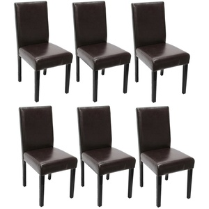 6x Esszimmerstuhl Stuhl Lehnstuhl Littau Leder, braun dunkle Beine