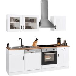 HELD MÖBEL Küchenzeile Athen, mit E-Geräten, Breite 220 cm, mit hochwertigen MDF Fronten weiß