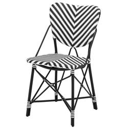 Casa Padrino Designer Gartenstuhl schwarz / weiß - Luxus Gartenmöbel