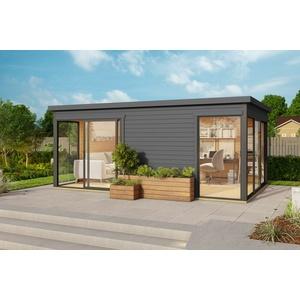 44mm Gartenhaus 530x340cm + Schiebetür + Fußboden Gerätehaus Holzhütte Holz Haus