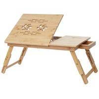 MCW Laptoptisch MCW-B81, Tisch höhenverstellbar, Tischplatte verstellbar, Mit Schublade, Mit blumenförmigen Lüftungslöcher beige
