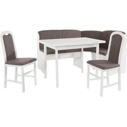 bv-vertrieb Eckbankgruppe Eckbankgruppe weiss Eckbank Tisch 2 Stühle weiss (3687), (4-tlg)