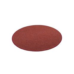 Veloursteppich Schlingen Teppich Alma Meliert Rund, Snapstyle, Rund, Höhe 8 mm rot 133 cm x 133 cm x 8 mm