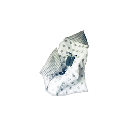 Einschlagdecke Doppelseitige Einschlagdecke 90x90 cm für Babyschale, Autokindersitz, Buggy, Kinderwagen Auto Einschlagdecke- Sterne Grau / Minky Grau, Welt der Träume, sehr weich und kuschelig