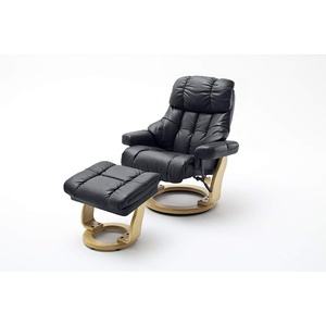 Robas Lund Sessel Leder Relaxsessel TV Sessel mit Hocker bis 180 Kg, Fernsehsessel Echtleder schwarz, Calgary XXL