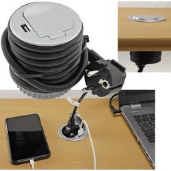 Schreibtisch-Einbausteckdose + USB versenkbar, USB 2,4A