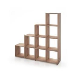 Vicco Stufenregal Treppenregal 10 Fächer Eiche Sonoma - Raumteiler Bücherregal