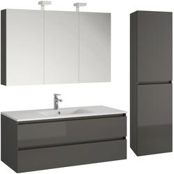 Allibert Badmöbel-Set Alma, (4-St), bestehend Waschplatz, Spiegelschrank und Hochschrank grau