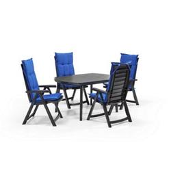 Allibert Gartenmöbelset 5-teilig anthrazit und blauen Auflagen