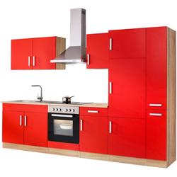 HELD MÖBEL Küchenzeile Toronto, mit E-Geräten, Breite 300 cm rot