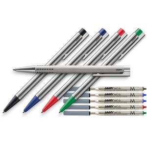 LAMY 205 logo Kugelschreiber Comfort-Set (+ extra Ersatzmine (Stiftfarbe), Alle 4 Farben + Brush)