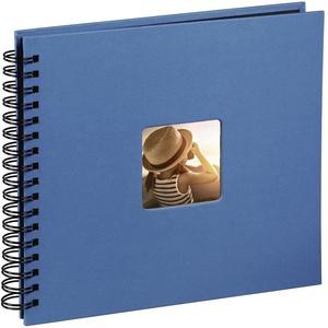 Hama Fotoalbum Jumbo 36x32 cm (Spiral-Album mit 50 schwarzen Seiten, Fotobuch mit Pergamin-Trennblättern, Album zum Einkleben und Selbstgestalten) azur-blau
