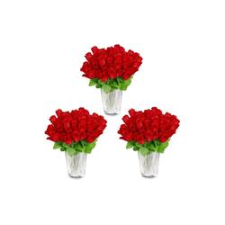 Künstliche Zimmerpflanze Kunstrosen rot 144 Stück, relaxdays, Höhe 26 cm