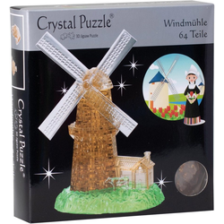 HCM KINZEL 3D-Puzzle Crystal Puzzle, Windmühle, 64 Puzzleteile