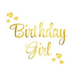 Bügelbild Birthday Girl + Herzen Aufbügelbild Geburtstag Kindergeburtstag Mädchen Frauen - gold