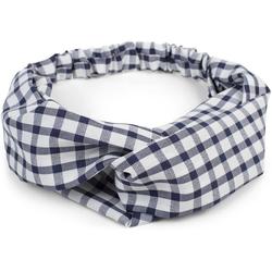 styleBREAKER Haarband Haarband mit Karo Muster und Twist Knoten, 1-tlg., Haarband mit Karo Muster und Twist Knoten blau