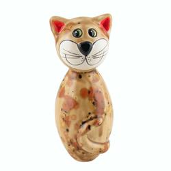 Tangoo Dekoobjekt Tangoo Keramik-Katze MINI hellbraun Effektglasur