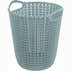CURVER Papierkorb KNIT, 7 Liter, Papierbehälter für Haushalt oder Büro, Farbe: misty blue