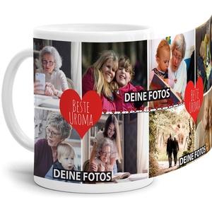 Tassendruck Fototasse mit Spruch - Beste Uroma - zum SELBSTGESTALTEN mit Foto-Collage für 8 WUNSCHFOTOS - Bestes Fotogeschenk für Uroma - Weiß