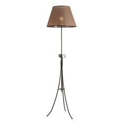 Licht-Erlebnisse Stehlampe ABUELA Dreibein Stehlampe Braun Stoffschirm Landhausstil Wohnzimmer