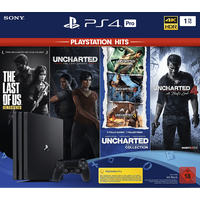 Sony PS4 Pro 1TB schwarz + The Last of Us Remastered + Uncharted: The Lost Legacy + Uncharted: The Nathan Drake Collection + Uncharted 4: A Thief's End (Bundle)