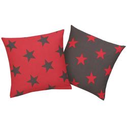 Kissenhüllen Stella, my home (2 Stück), mit Sternen-Muster rot 40 cm x 40 cm