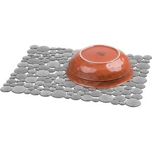 iDesign Spülbeckeneinlage, große Spülbeckenmatte aus Kunststoff, schützende Spülmatte für Keramik- und Edelstahlbecken, grau