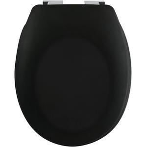 spirella Premium Toilettendeckel oval Klodeckel mit matten Finish und Softclose Absenkautomatik. Antibakterielle Klobrille aus Duroplast und rostfreiem Edelstahl - Schwarz