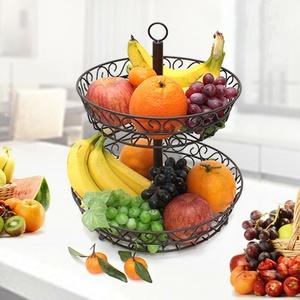 2-Tier Dekorative Obst Korb Schüssel Küche Arbeitsplatte Lagerung