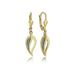 Balia Paar Ohrhänger BGO0017GW Balia Ohrhänger für Damen 8K Gold (Ohrhänger), Damen Ohrhänger Blatt aus 333 Gelbgold - 8 Karat