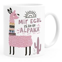 SpecialMe Tasse Kaffeetasse Spruch Mir egal ich bin ein Alpaka - Alpaka-Motiv Lama Geschenk Alpaka-Liebhaber Bürotasse SpecialMe®, Keramik weiß