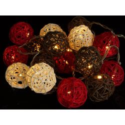 Guru-Shop LED-Lichterkette Rattan Ball LED Kugel Lampion Lichterkette -..