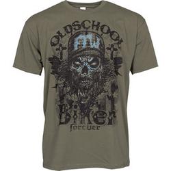 Oldschool Biker T-Shirt grün L
