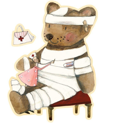 Wall-Art Wandtattoo Gute Besserung kleiner Teddy (1 Stück) 15 cm x 20 cm x 0,1 cm