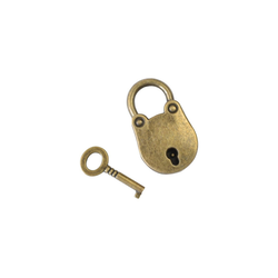 HMF Vorhängeschloss 6490, Schloss Antik-Look, 2,5 x 1 x 3,8 cm, Gold