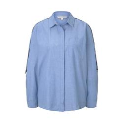 TOM TAILOR DENIM Damen Oversized Hemdbluse mit Tape und Turn-Ups, blau, Gr.XS