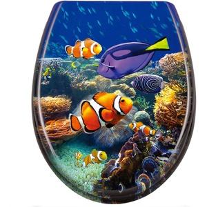 LZQ WC Sitz mit absenkautomatik Toilettensitz Toilettendeckel inkl. Montagematerial aus Hartplastik, 45 x 38cm, Süßwasserzierfische
