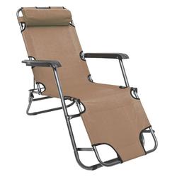 AMANKA Gartenstuhl Campingstuhl Liegestuhl Freizeitliege Sonnenliege, Klappliege Liege 153 cm Beige