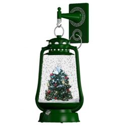 Schneiende LED-Laterne grün Tannenbaum - 35 cm