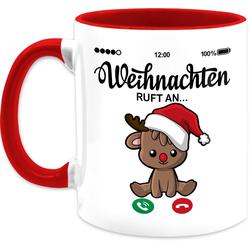 Shirtracer Tasse Weihnachten ruft an mit süßem Rentier - Weihnachtstasse - Tasse zweifarbig, Keramik